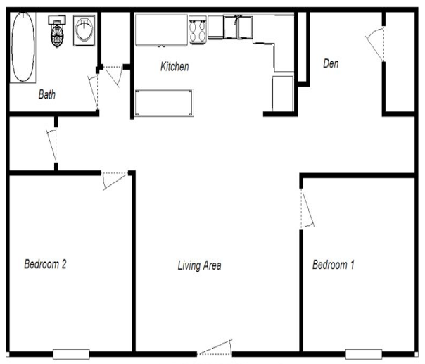 2 Bedrooms / 1 Bath 730 Sq. Ft. Available